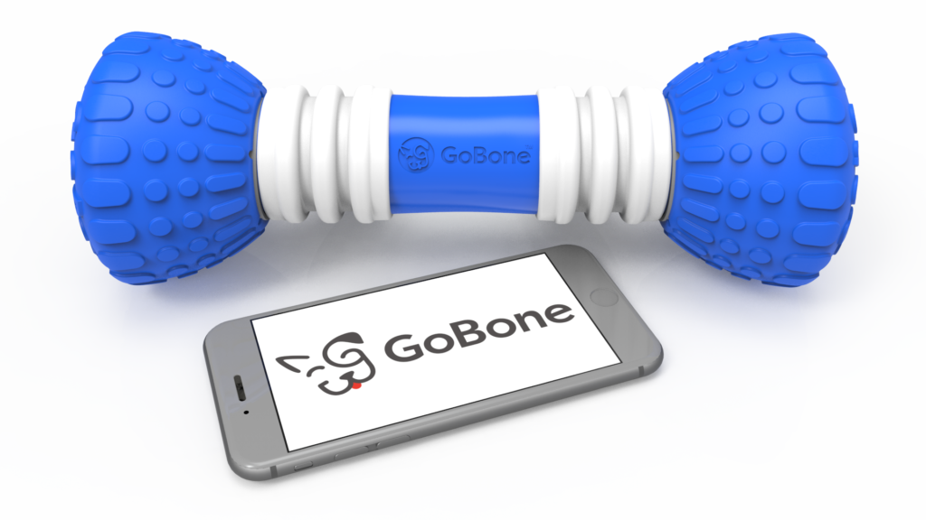 GoBone smart dog bone toy devide and mobile phone showing app