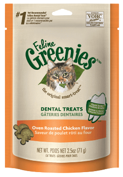 Greenies dental treats for cats is Abby's favorite treat to get in her automatic cat feeder